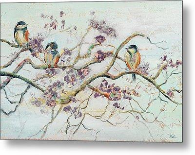 Birds On Cherry Blossom Branch Metal Print