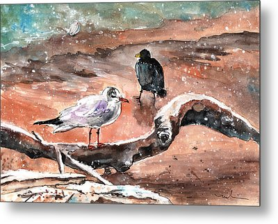 Birds On The Constance Lake In Winter Metal Print by Miki De Goodaboom