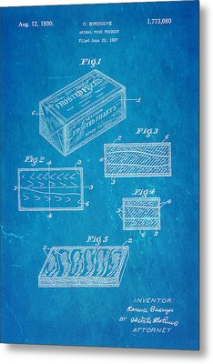 Birdseye Frozen Food Patent Art 1930 Blueprint Metal Print