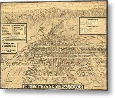 Birdseye Map Of Colorado Springs - 1909 Metal Print by Eric Glaser