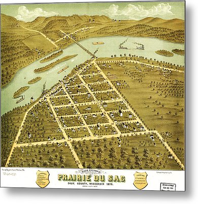Birdseye View Of Prairie Du Sac Wisconsin 1870 Metal Print by MotionAge Designs
