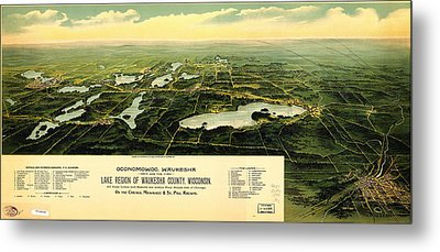 Birdseye View Of Waukesha County Wisconsin 1890 Metal Print by MotionAge Designs