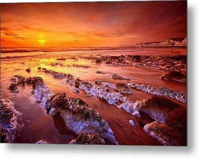 Birling Gap Sunset Metal Print by Mark Leader
