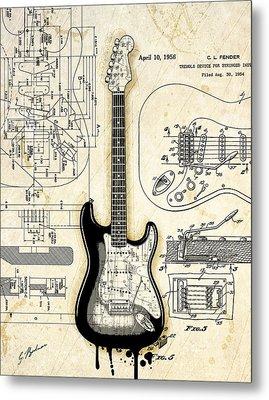 Fender Strat Birth Certificate Metal Print