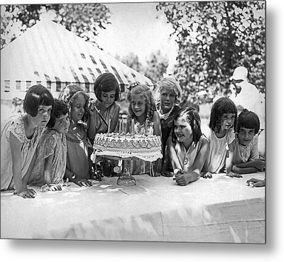 Birthday Cake Girl And Friends Metal Print by Underwood Archives