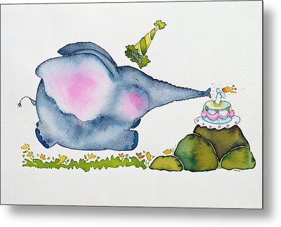 Birthday Elephant Metal Print