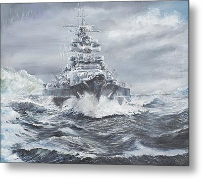 Bismarck Off Greenland Coast  Metal Print by Vincent Alexander Booth
