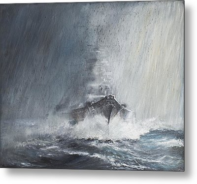 Bismarck Through Curtains Of Rain Metal Print by Vincent Alexander Booth