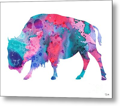 Bison 2 Metal Print by Watercolor Girl