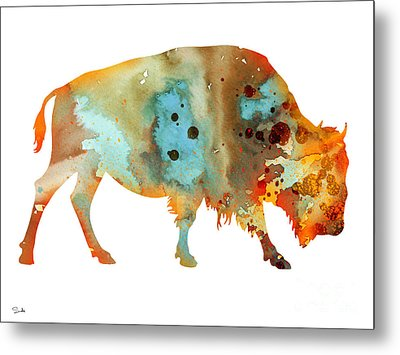 Bison 5 Metal Print by Watercolor Girl