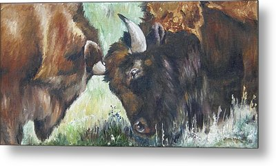 Metal Print featuring the painting Bison Brawl by Lori Brackett