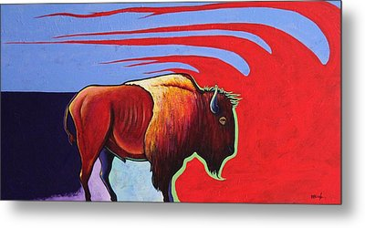 Bison In The Winds Of Change Metal Print by Joe  Triano