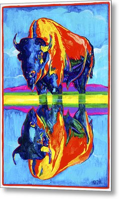 Bison Reflections Metal Print by Derrick Higgins