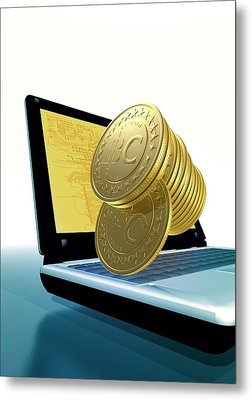 Bitcoins And A Laptop Metal Print by Victor Habbick Visions