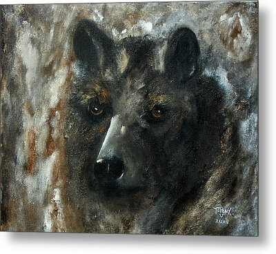 Metal Print featuring the painting Bjomolf - Bear Wolf by Barbie Batson
