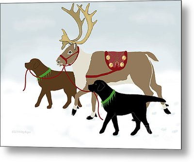 Black And Chocolate Labs Lead Reindeer Metal Print