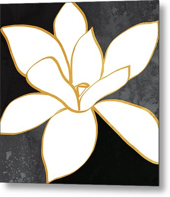 Black And Gold Magnolia- Floral Art Metal Print