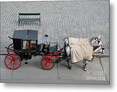 Metal Print featuring the photograph Black And Red Horse Carriage - Vienna Austria  by Imran Ahmed