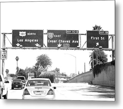 Metal Print featuring the photograph Black And White Abstract City Photography...l.a. Freeway by Amy Giacomelli
