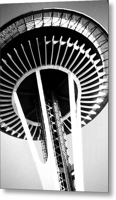 Metal Print featuring the photograph Black And White Abstract City Photography...space Needle by Amy Giacomelli