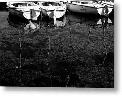 Black And White Boats Metal Print by Pati Photography