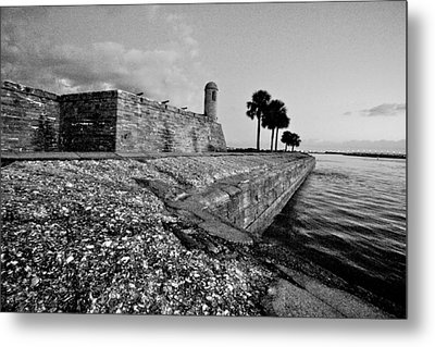 Black And White Castillo De San Marcos View 3 Metal Print
