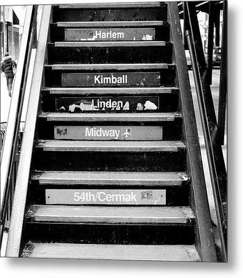 Black And White Chicago L Stairs Metal Print by Anthony Doudt