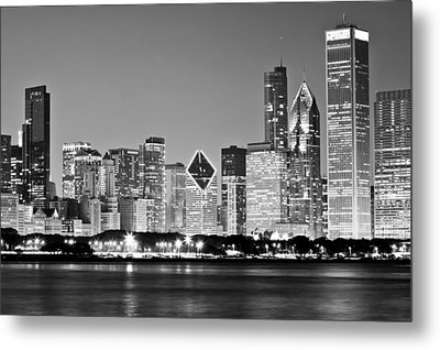 Black And White Chicago Skyline Metal Print by Georgia Fowler