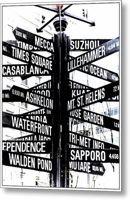 Black And White Directions  Metal Print by Cathie Tyler