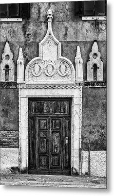 Black And White Door In Venice Metal Print