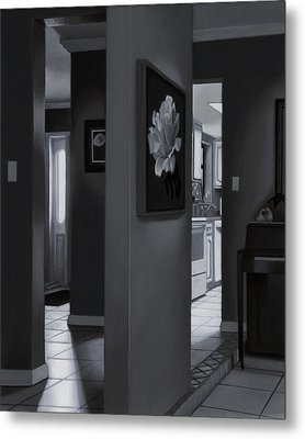 Black And White Foyer Metal Print