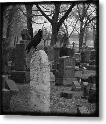Black And White Graveyard Metal Print by Gothicrow Images