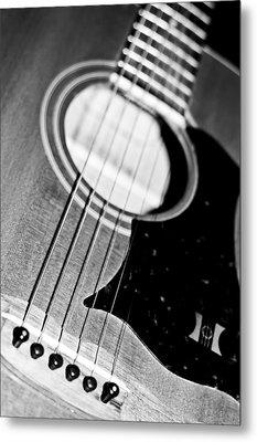 Black And White Harmony Guitar Metal Print by Athena Mckinzie