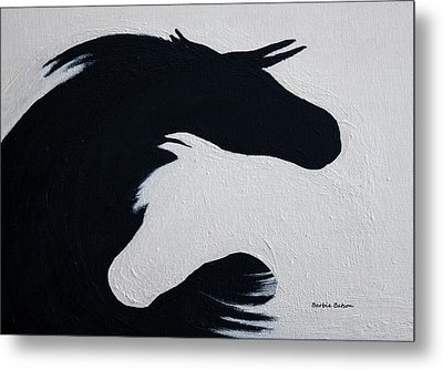 Metal Print featuring the painting Black And White Horses Together Forever by Barbie Batson