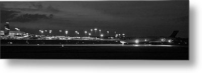 Black And White Jet Landing At Gerald R Ford Airport Metal Print by Rosemarie E Seppala