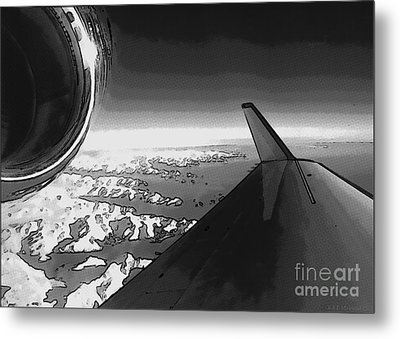 Metal Print featuring the photograph Jet Pop Art Plane Black And White  by R Muirhead Art