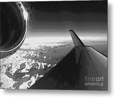Jet Pop Art Plane Black And White  Metal Print by R Muirhead Art