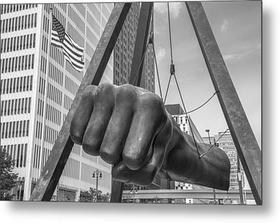 Black And White Joe Louis Fist And Flag Metal Print