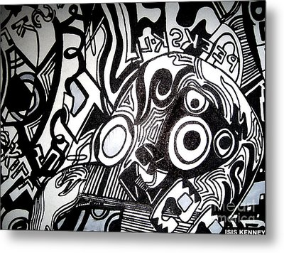 Black And White Line Drawing Metal Print by Isis Kenney
