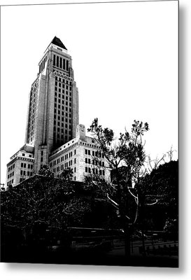 Metal Print featuring the photograph Black And White Los Angeles Abstract City Photography...la City Hall by Amy Giacomelli