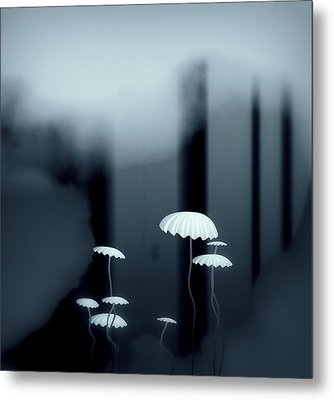 Black And White Mushrooms Metal Print by GuoJun Pan