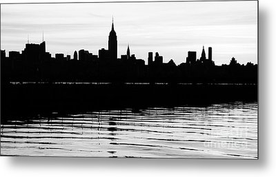 Metal Print featuring the photograph Black And White Nyc Morning Reflections by Lilliana Mendez