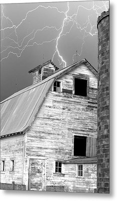 Black And White Old Barn Lightning Strikes Metal Print by James BO  Insogna
