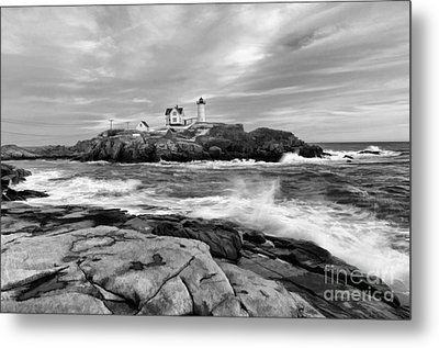 Black And White Painted Seascape Metal Print by Sharon Seaward