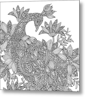 Black And White Peacock Metal Print