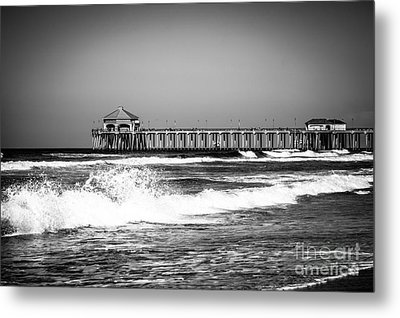 Black And White Picture Of Huntington Beach Pier Metal Print by Paul Velgos