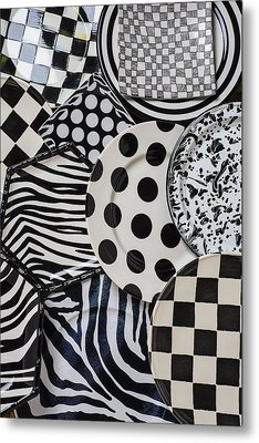 Black And White Plates Metal Print by Garry Gay