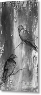 Black And White Ravens Metal Print by Laurianna Taylor