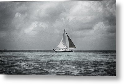 Black And White Sail Boat Metal Print by Kristina Deane