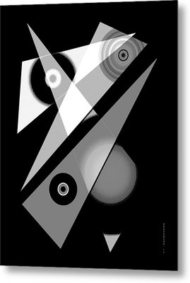 Black And White Shapes Art Metal Print by Mario Perez